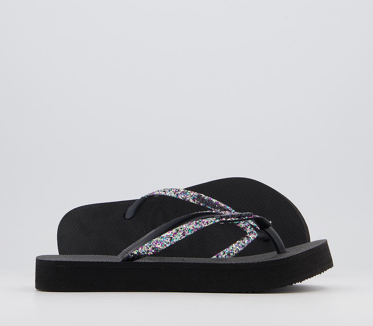 Slim Flatform Glitter Flip Flops