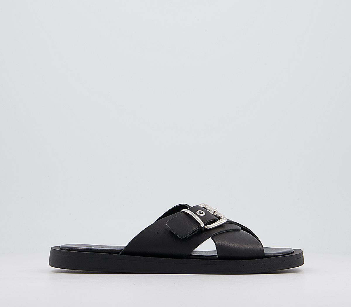 Support Cross Strap Buckle Mule Sandals