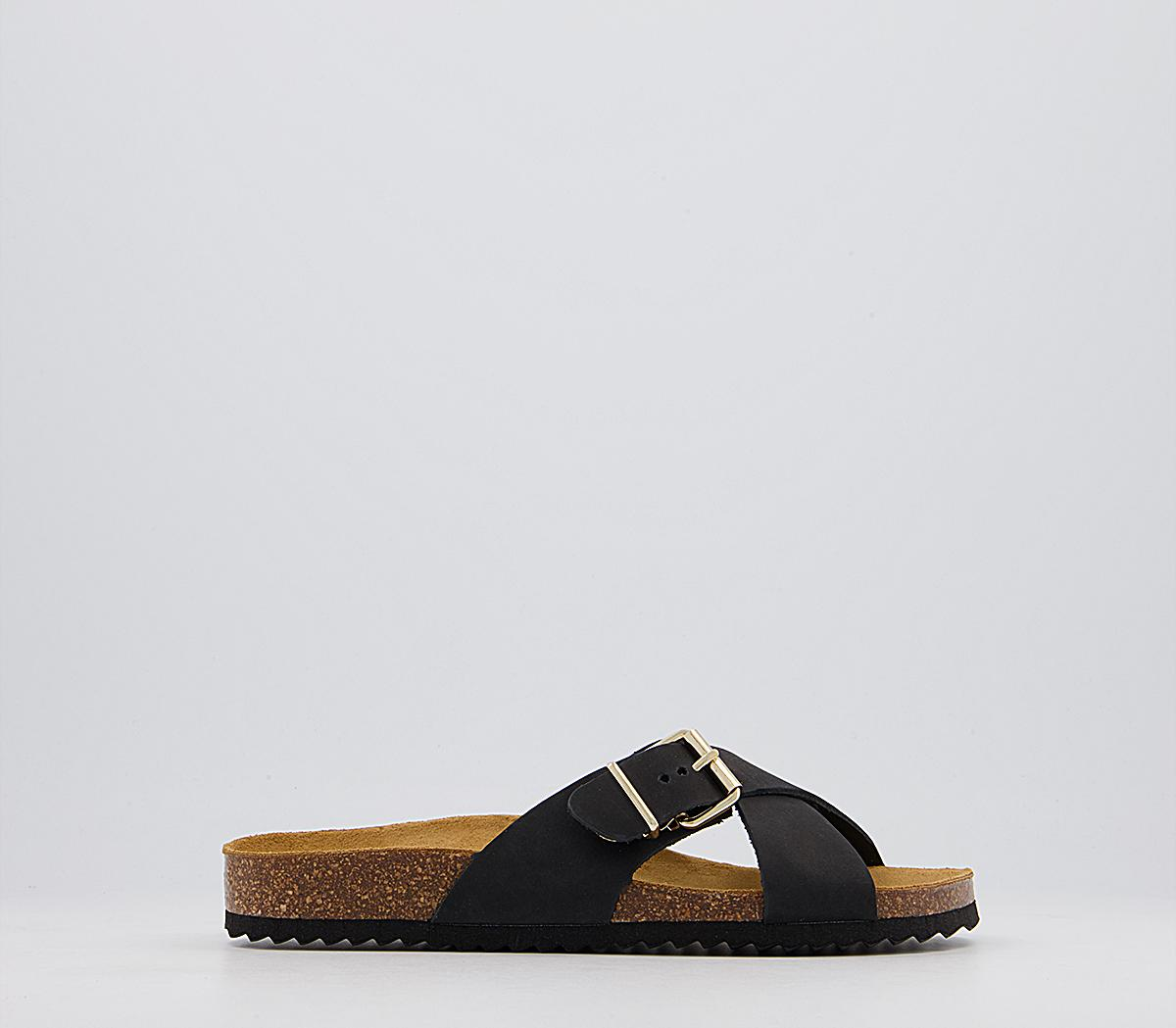 Somehow Cross Strap Buckle Footbed Sandals