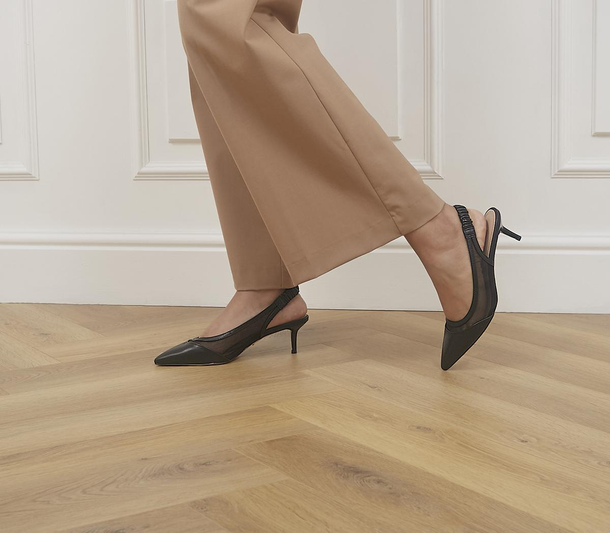 Master's Degree Mesh Point Slingback Heels
