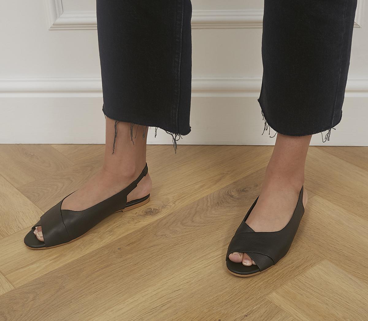 Factor Sling Back Peep Toe Flats