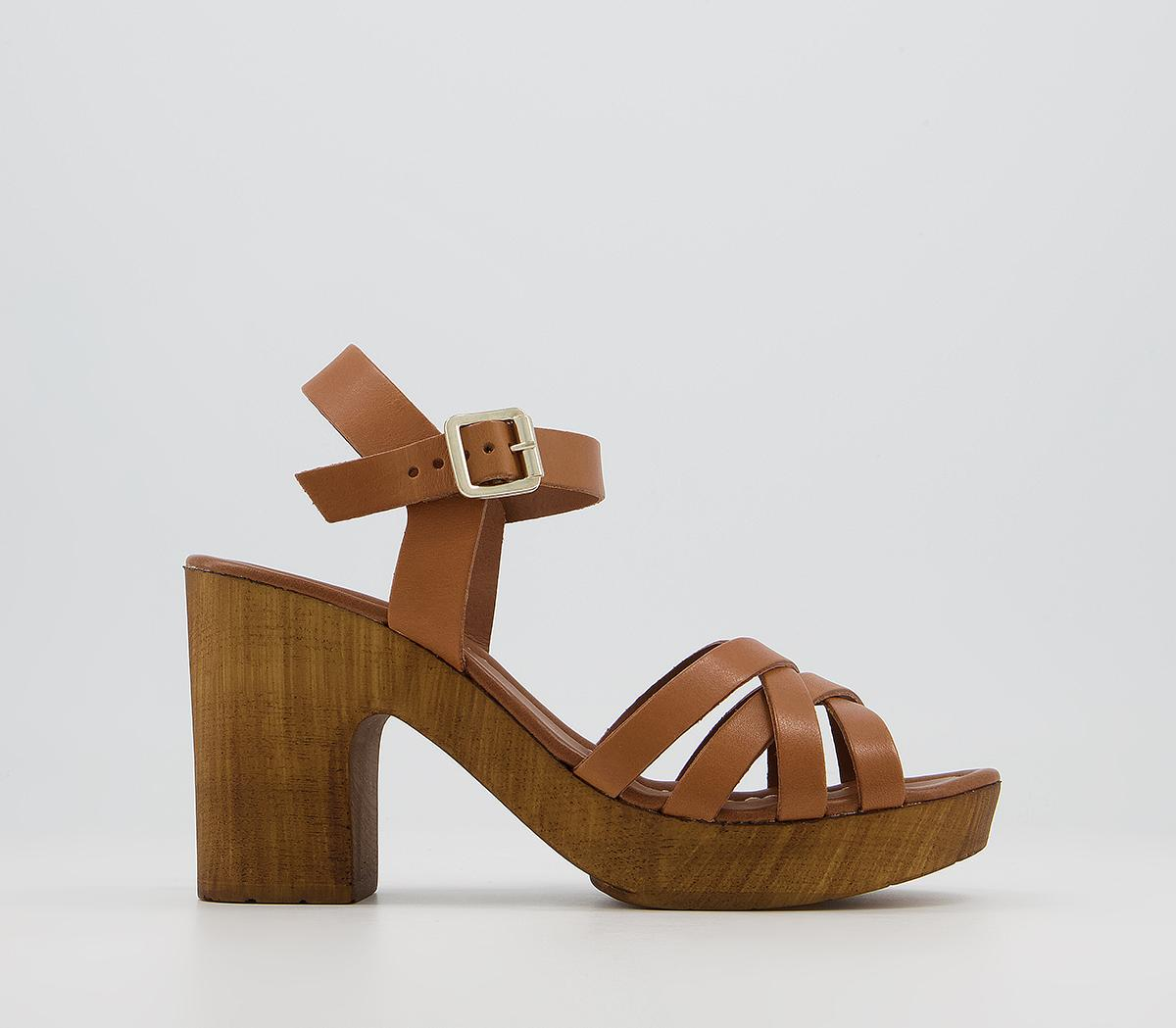 Meagan Strappy Two Part Wood Block Heels