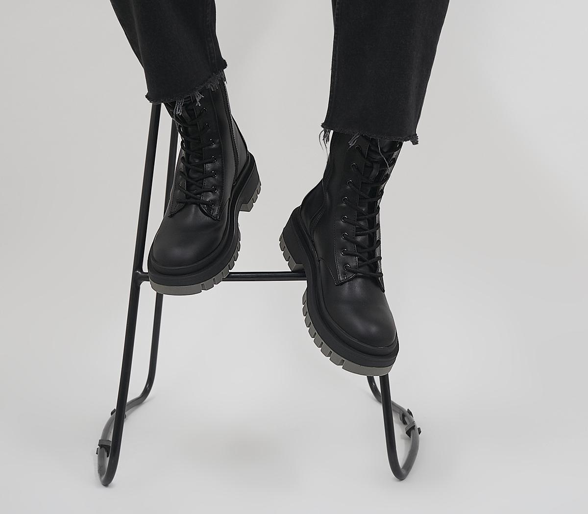 Azure Contrast Sole Lace Up Boots