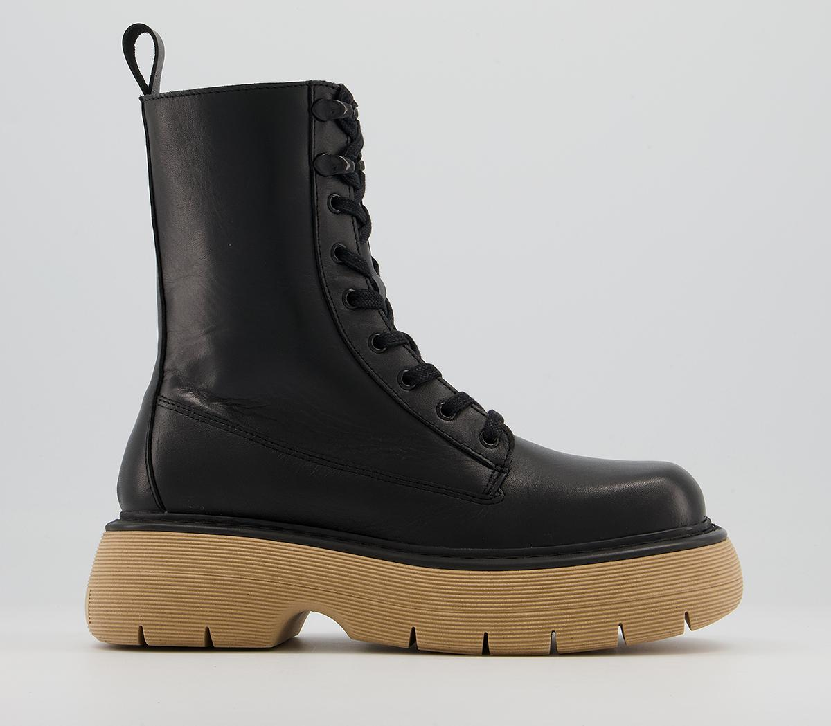 Acacia Chunky Contrast Sole Lace Up Boots