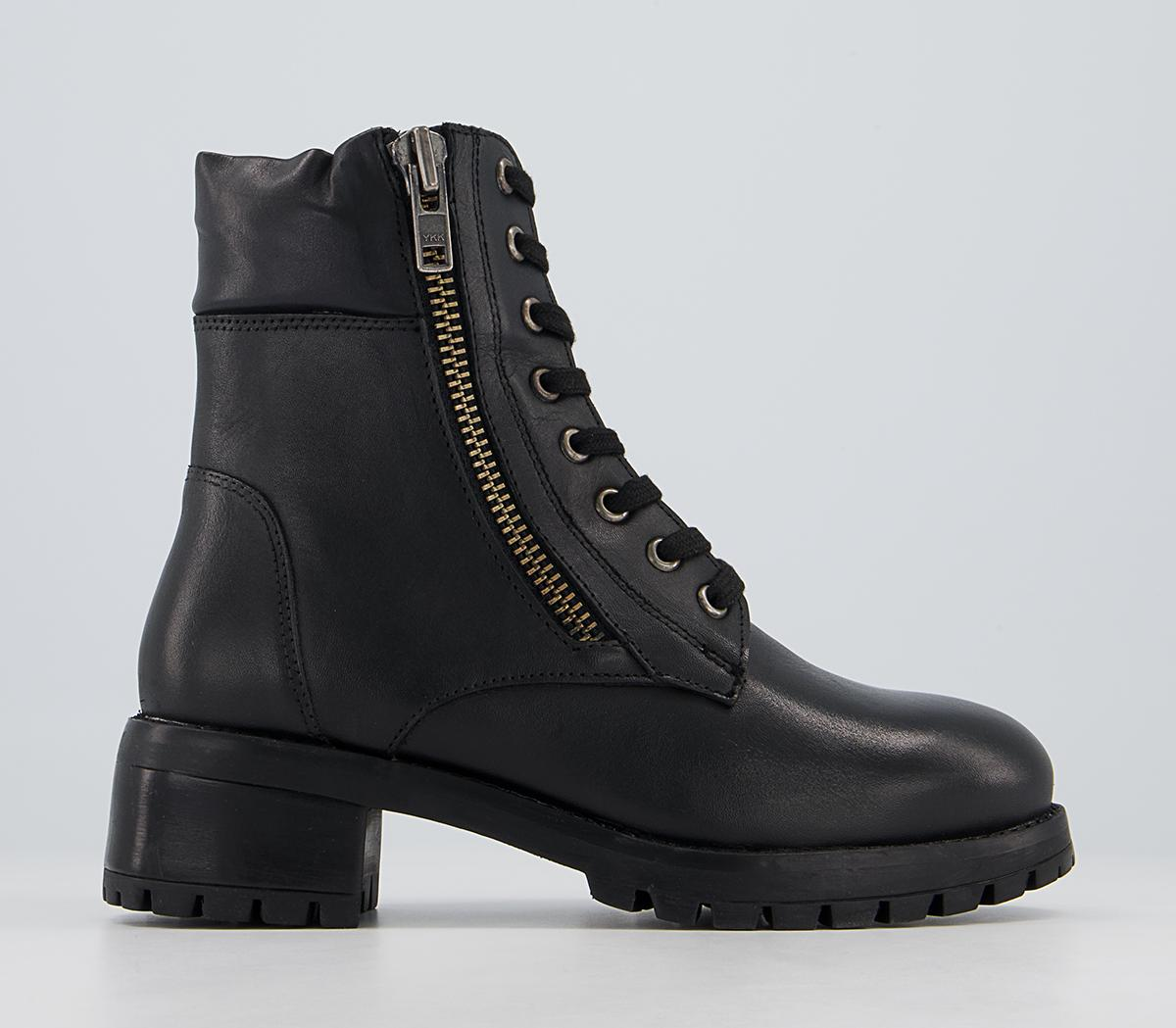 Appealing Heeled Side Zip Lace Up Boots