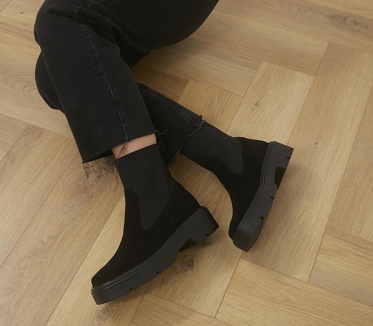 Anouska Square Toe Ribbed Chelsea Boots