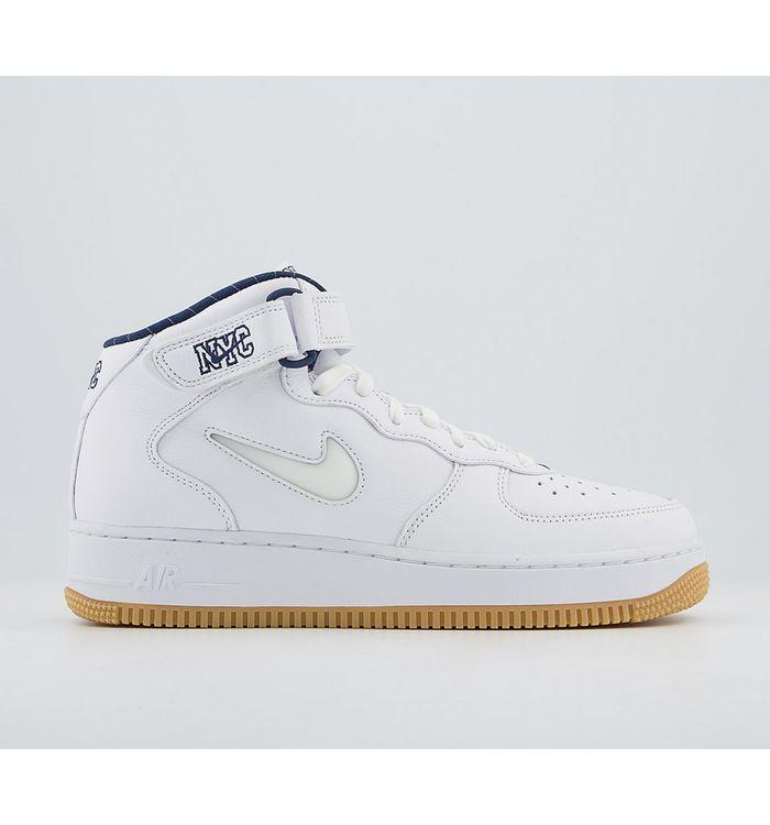 Nike Air Force 1 Mid Trainers WHITE WHITE MIDNIGHT NAVY GUM YELLOW,White,Grey