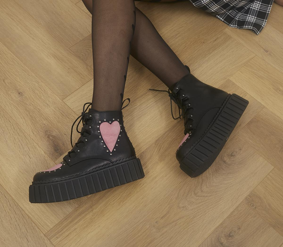 Cross Your Heart Chunky Creeper Ankle Boots
