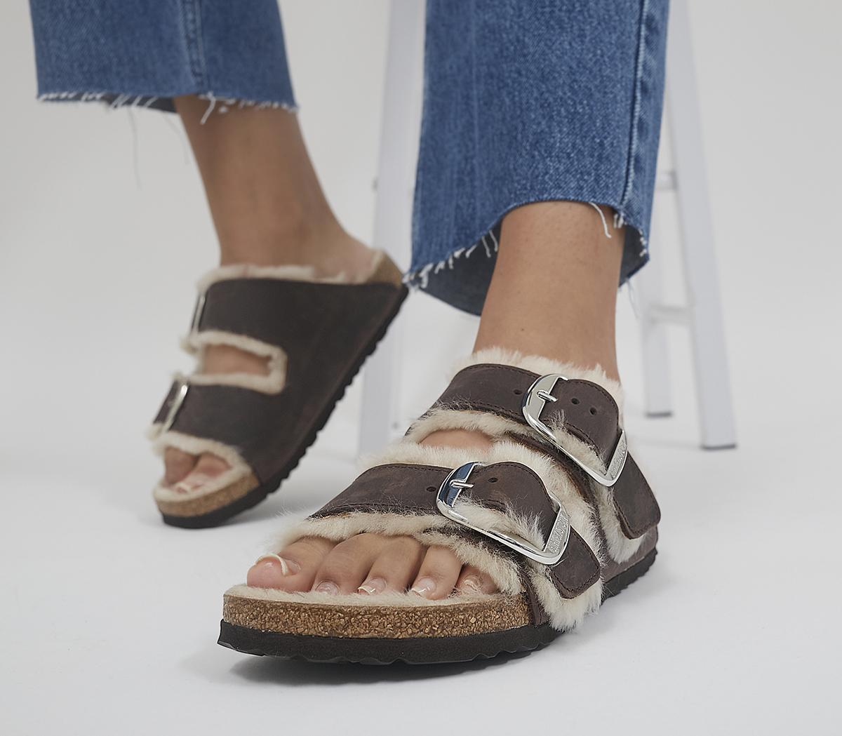 Arizona Big Buckle Shearling Sandals
