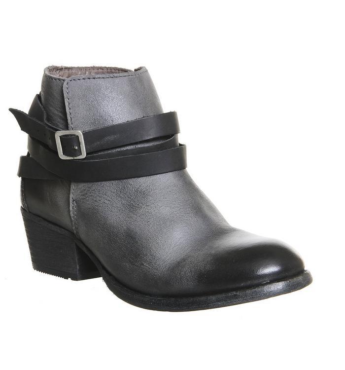 H by Hudson Hudson London Horrigan Strap Ankle Boots GREY LEATHER