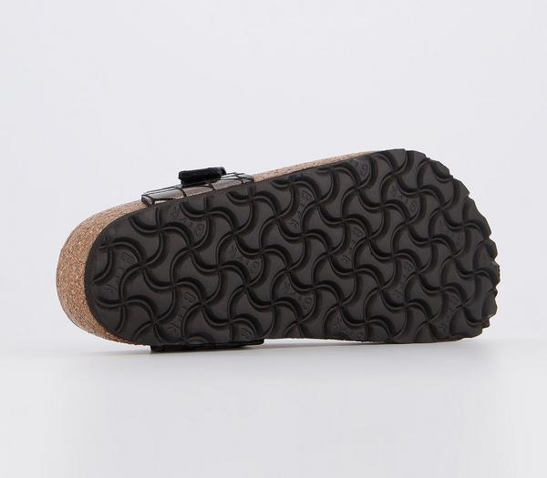 Birkenstock Toe Thong Footbed Sandals Gator Gleam Black - Sandals gjaXhBc