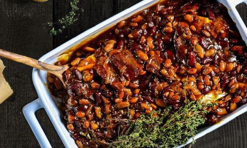 Pork Belly Bourbon Baked Beans