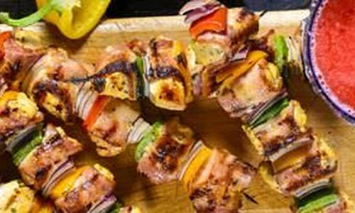 Spicy Bacon Wrapped Grilled Chicken Skewers