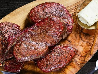 Beef Tenderloin Steaks with Blue Cheese and Peppercorn Butter Recipe