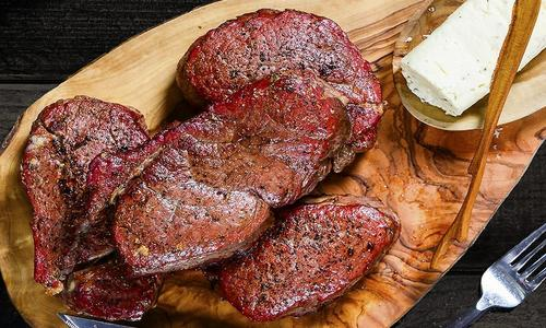 Beef Tenderloin Steaks with Blue Cheese and Peppercorn Butter
