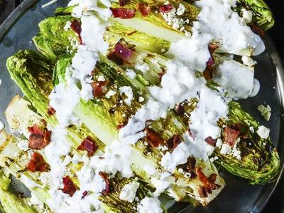 Grilled Romaine Salad with Blue-Bacon Dressing Recipe