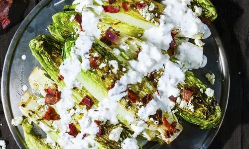 Grilled Romaine Salad with Blue-Bacon Dressing