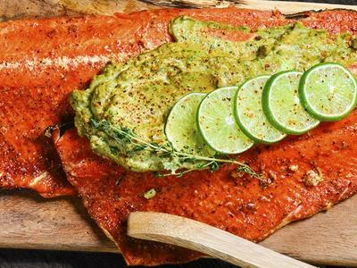 Red Curry Salmon with Avocado Creme Recipe