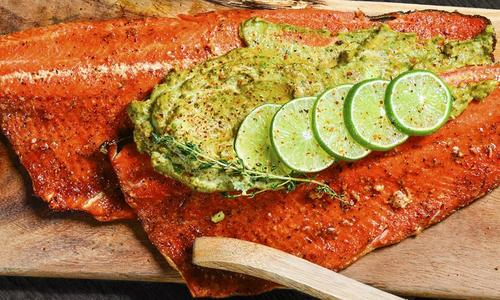 Red Curry Salmon with Avocado Creme