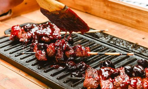 Cherry BBQ Steak Skewers