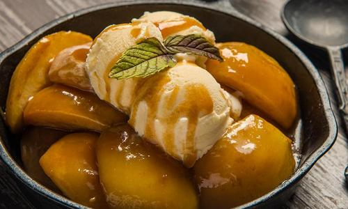 Caramelized Bourbon Baked Pears