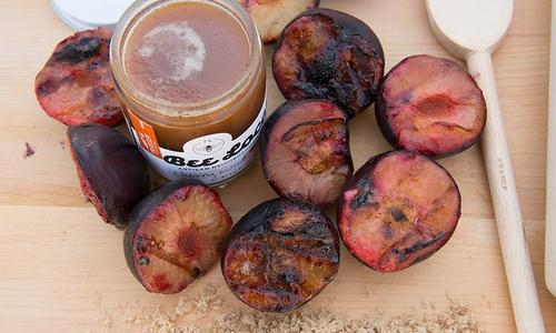 Grilled Plums with Brown Sugar Balsamic Reduction