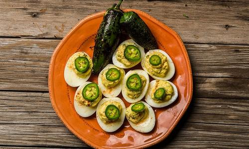 Roasted Jalapeno Cheddar Deviled Eggs