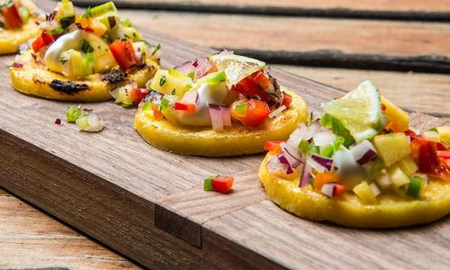 Grilled Polenta with Roasted Corn Mango Relish
