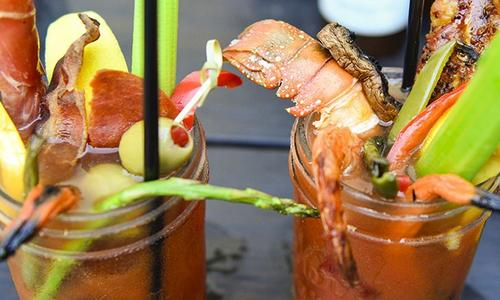 Smoked Bloody Mary With Grilled Garnishes