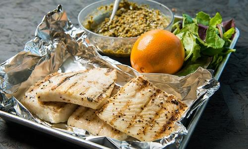 Grilled White Fish Steaks with Basil Orange Pesto