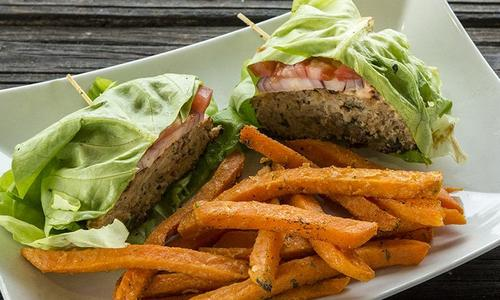 Grilled Asian Lettuce Wrap Turkey Burger