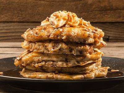 Grilled Banana Toffee Pancakes