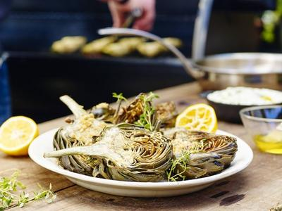 Grilled Artichokes with Sauce Gribiche by Chef Tyler Florence