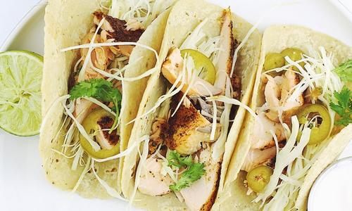 Grilled Salmon Tacos with Smoked Tomato Salsa by Daniel Seidman
