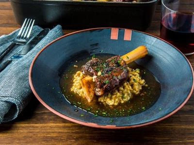 Armenian Style Braised Lamb Shanks with Barley Risotto by Chef Bonnie Morales Recipe