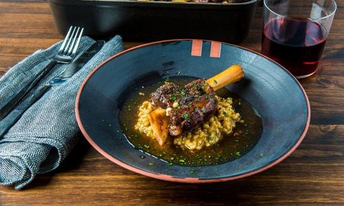 Armenian Style Braised Lamb Shanks with Barley Risotto by Chef Bonnie Morales