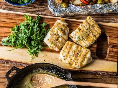 Grilled Halibut Fillets with Lemon and Butter Sauce Recipe