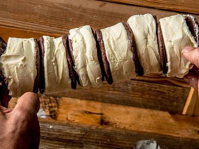 Baked Chocolate Shortbread Cookie Ice Cream Sandwich Recipe