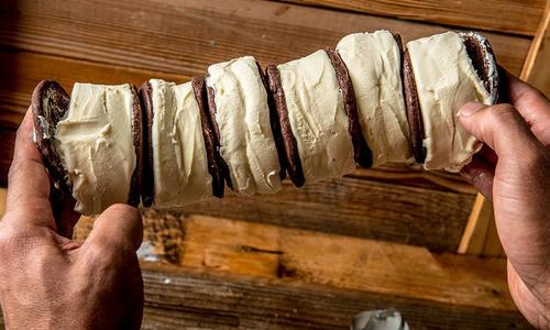 Baked Chocolate Shortbread Cookie Ice Cream Sandwich