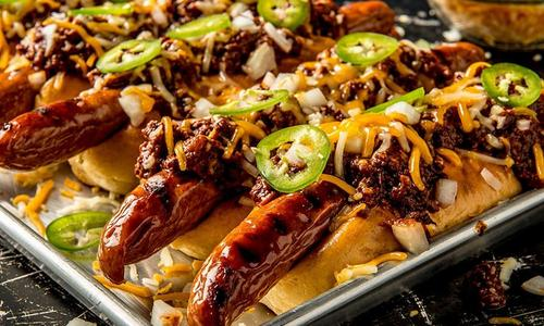 Grilled Chili Cheese Jalapeno Dogs