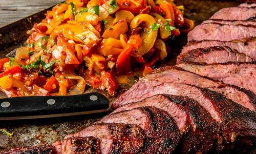 Roasted Black Pepper Tri-Tip with Grilled Peppers