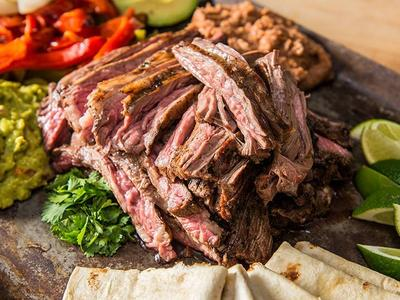 Grilled Carne Asada with Grilled Peppers & Onions
