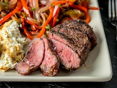 Smoked Filet Mignon with Sweet Pepper Relish & Baked Ricotta Recipe