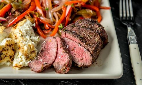 Smoked Filet Mignon with Sweet Pepper Relish & Baked Ricotta