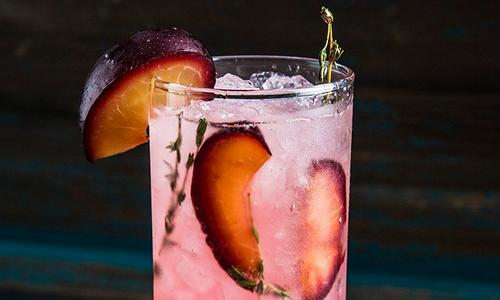 Smoked Plum and Thyme Fizz Cocktail