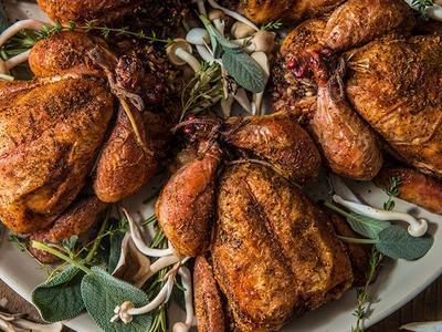 Roasted Cornish Game Stuffed Hens Recipe