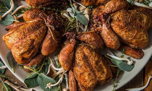 Roasted Cornish Game Stuffed Hens