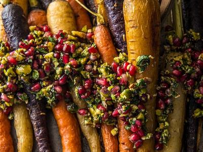 Roasted Carrots with Parsley Vinaigrette and Pomegranate Seeds Recipe
