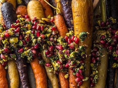 Roasted Carrots with Pistachio & Pomegranate Relish Recipe