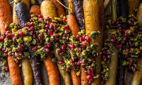 Roasted Carrots with Pistachio & Pomegranate Relish